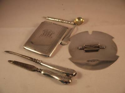 Antique Hallmarked Sterling Silver Scrap ? Lid Card Case Spoon Files 109Grms