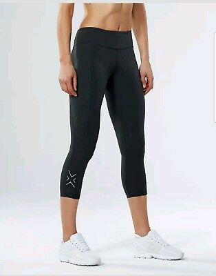 2XU Women's Fitness Compression 7/8 Tights - Black/Silver - LARGE TALL
