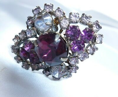 Antique Amethyst And Rhinestone Ladies Hatpin Stunning Excellent Condition