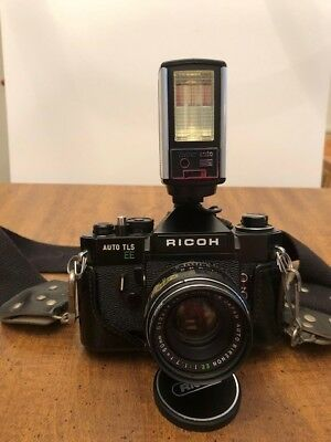 Ricoh auto tls ee 35 camera, lenses, owners manual and protective cases