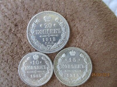 Lot of 3 silver coins. Russia ,Russian Empire,10,15,20 kopeks 1912,1915