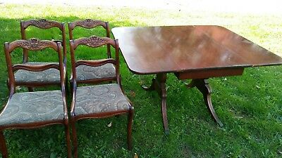 Vintage Duncan Phyfe Drop Leaf Table with 4 upholstered Chairs