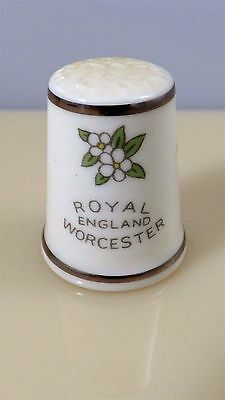 Vintage Porcelain Thimble Royal England Worcester Blue Birds Flowers Sewing
