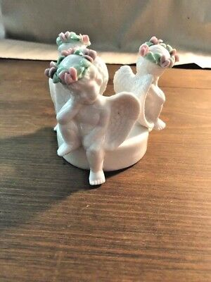 Vintage Porcelain Candle Holder. Three Angels. Absolutely Stunning!