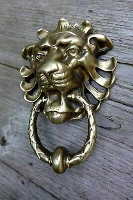 Vintage solid brass door knocker with lion head design project replacement