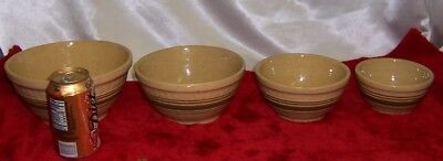Vintage Yellow Ware Set Of 4 Stoneware Striped Mocha Mixing Bowls