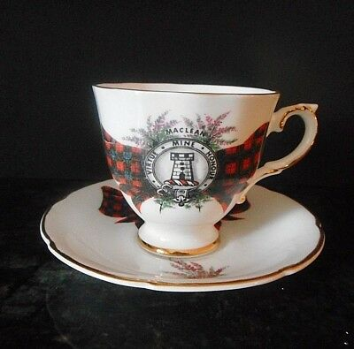Vintage Royal Grafton Fine Bone China MacLean Scottish Clan Tea Cup & Saucer