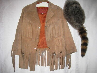 Vtg BOYS CHEVAUER  BROWN SUEDE FRINGE JACKET & COON TAIL HAT MEXICO  6 HALLOWEEN