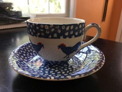 Burleigh ICTC Alice Cotterell England Chanticleer Blue Rooster Teacup Saucer Set
