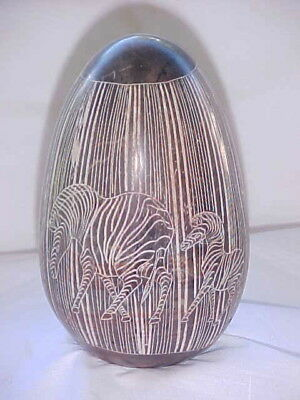"Large 5"" Hand Carved African Mother Zebra & Baby Alabaster/Marble Egg"