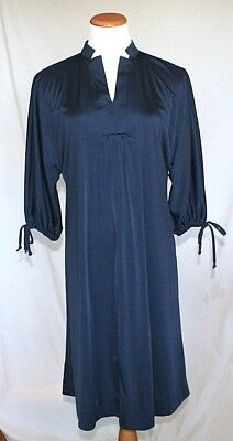 Vintage Montgomery Ward Dress Medium Navy Blue Knit Shift 1960s 1970s T04