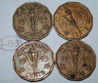 Canada 1943 5 Cents Tombac x 4 George VI Canadian Victory Nickel Lot #L53