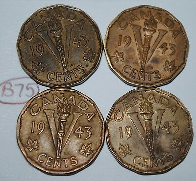 Canada 1943 5 Cents Tombac x 4 George VI Canadian Victory Nickel Lot #B75