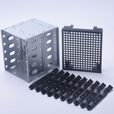 "AU Stainless Steel Rack SAS For Computer SATA Hard Drive Cage 5.25"" To 5x 3.5"""