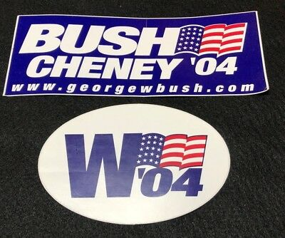 George W Bush & Dick Cheney 2004 Campaign Stickers Oval and Rectangle