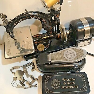 WILLCOX & GIBBS SEWING MACHINE Antique Wilcox NICE! WORKING SEE VIDEO! #A728909!