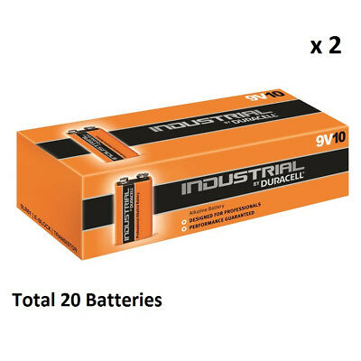 20 x 9V Duracell Industrial MN1604 E-Block Alkaline Batteries for Electronics