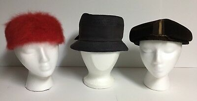 Lot of 3 Vintage Women's Hats~Red,Brown,Navy~1 Firenze Italy ~ 2 unmarked