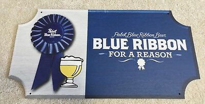 "Pabst Blue Ribbon Beer PBR For A Reason Wooden Beer Sign 20x10"" Brand New In Box"