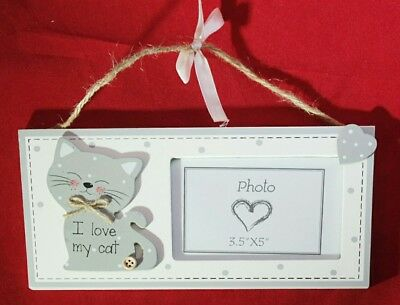 "Cat Sign Photo Frame Grey Kitty I Love My Cat Wood Hanging Decor 9.5""x4.75"" Gift"