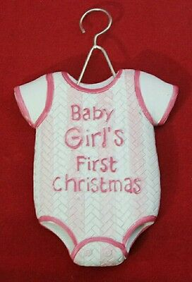 """Baby Girl Pink Ornament Outfit 1st CHRISTMAS Holiday Resin 4"""" Shower Gift"""