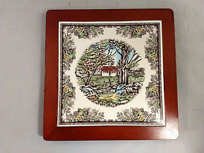 Johnson Brothers Friendly Village Trivet with Wood Frame
