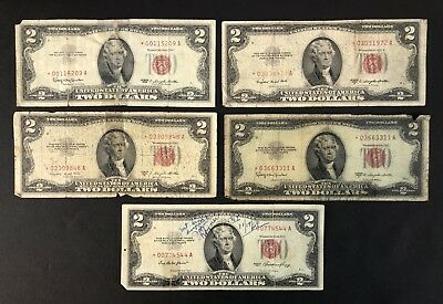 1953 - 1963 Red Seal 2$ Star Notes - Lot Of 5 - Legal Tender (P1417)