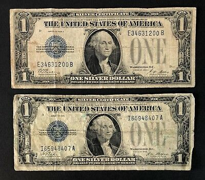 1928 Silver Certificate 1$ Funny Back Dollar Bills - Lot Of 2 (P1418)