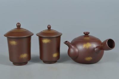 R1769: Japanese Banko-ware Brown pottery Sencha TEAPOT & CUPS Tea Ceremony