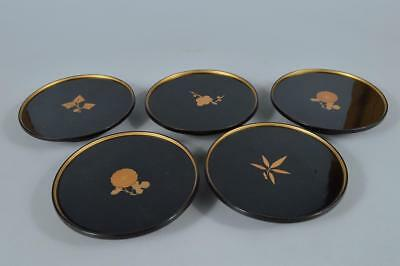 R2552: Japanese Wooden Flower gold lacquer pattern SERVING PLATE/dish 5pcs,