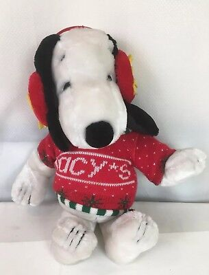 Snoopy Doll Toy Macy's Christmas Sweater Woodstock Earmuffs White 19""