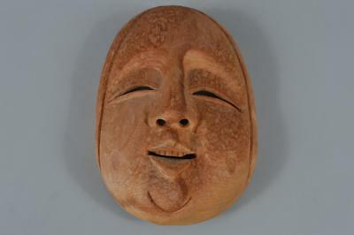 R2847: Japanese Wood carving Person sculpture MASK Noh mask Kyogen Ornaments