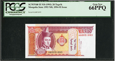 Mongolia Mongol Bank 20 Tugrik ND (1993) Pick 55 - PCGS GEM NEW 66PPQ