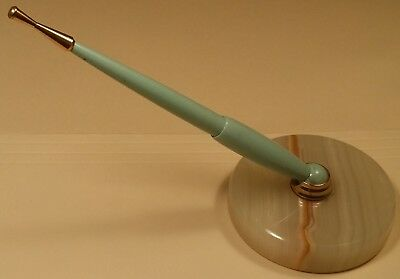 Vintage Desk Set With Onyx Base And Pale Green Pen With Brass Phone Dialer Tip