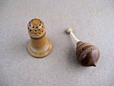 Turned Tagua  Nut  vegetable, Shaker and spinning top.