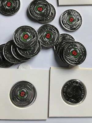 4x 2018 coloured NEW ZEALAND Armistice 50 Cent Coin Uncirculated In 2x2