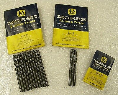 Vintage MORSE No.1330 Straight Shank High Speed Drill Bits W/ Original Packages!