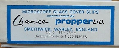 Microscope slide cover slips (18mmx18mm) - 1,000 in box of 10 packs of 100 each