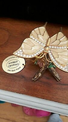24k Gold Plated Ornament .Austrian Crystal Butterfly