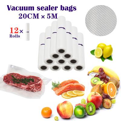 10 Roll 20cm×5M Vacuum Food Sealer Rolls Saver Bags Seal Storage Food Heat Grade