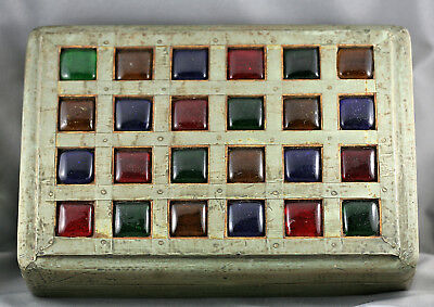 Spectacular Vintage Persian Silver Mounted Bejewelled Wooden Box