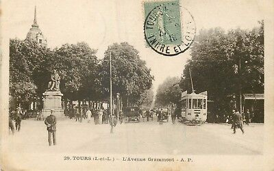 Cp Tours Avenue Grammont Animee - Tramway