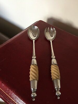 Lovely Pair Of Silver Plated Salad Servers With Faux  Handles