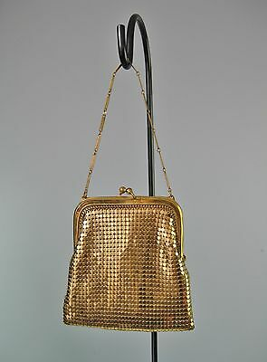 Vintage 1920s-1930s Whiting & Davis Small Gold Mesh Purse Evening Bag