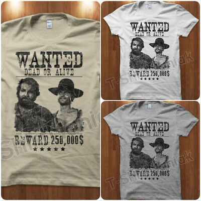 T-Shirt Maglietta Wanted Trinità Bud Spencer & Terence Hill Uomo Vintage Western