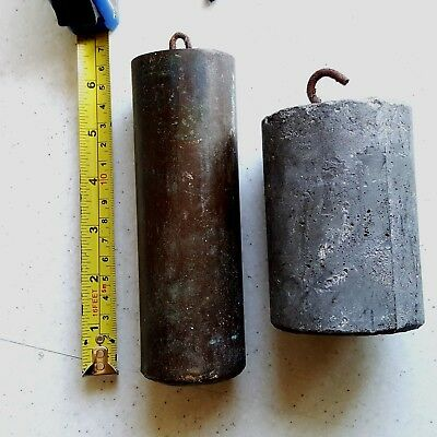 Two Antique Long Case Grandfather Clock Lead Weights