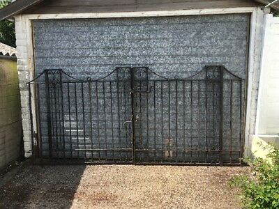 Pair Of 1920s wrought Iron Drive Gates. Very Heavy  Each Is 130cm Tall 137 Wide