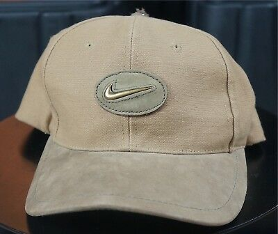 eb728dbab9d Rare Vintage NIKE Golf Spell Out Metal Leather Swoosh Logo Hat Cap 90s Retro  Tan