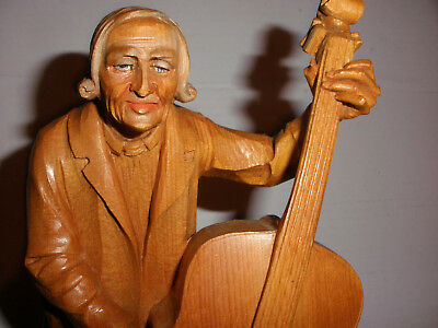 """Great Vintage 11"""" Anri ? Hand Wood Carved Figure Cello Or Bass Player"""
