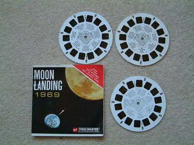 Vintage GAF Viewmaster set  B 663 'Moon Landing'.Three discs with booklet.